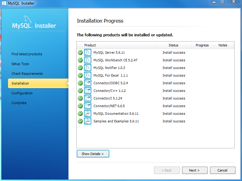 Install MySQL Step 7 - Installation Progress - Complete Downloading