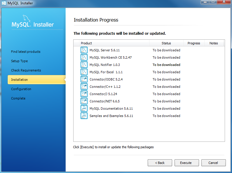 Install MySQL Step 7 - Installation Progress