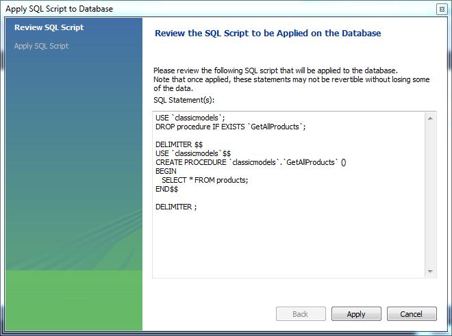 Create MySQL Stored Procedure using MySQL Workbench Step 2 - Review