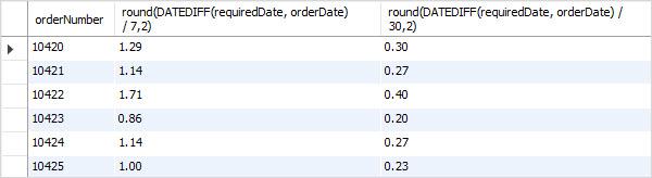 MySQL DATEDIFF example