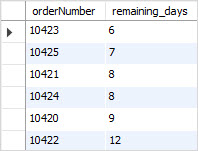 MySQL DATEDIFF function example remaining days