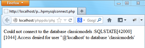 php mysql connect error