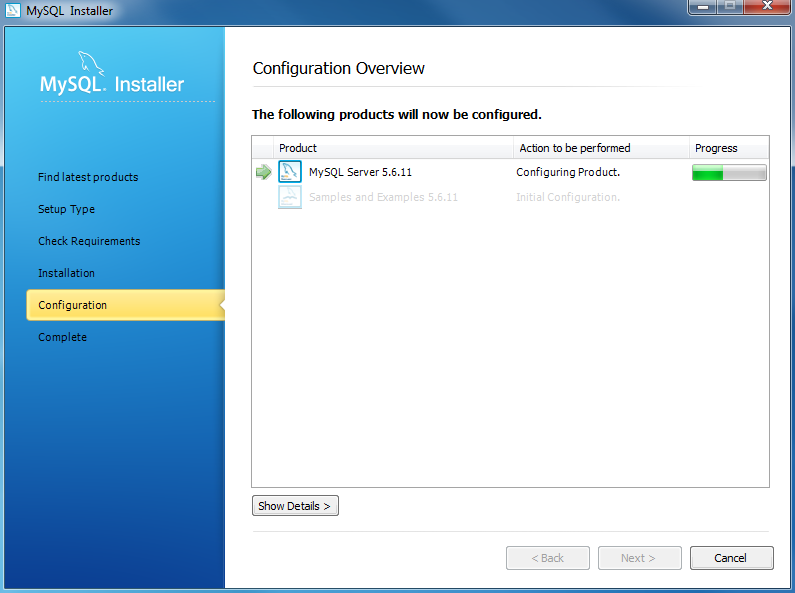 Install MySQL Step 8.1 - MySQL Server Configuration - In Progress