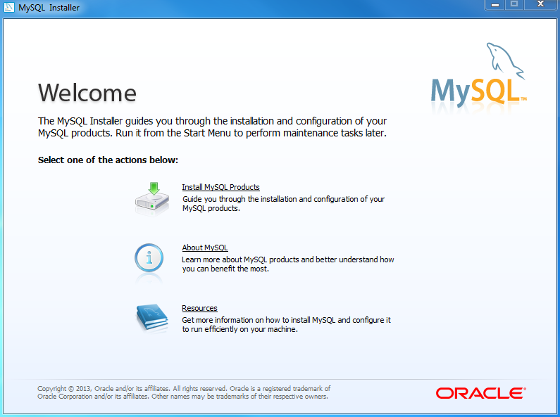 Install MySQL Step 2 - Welcome Screen
