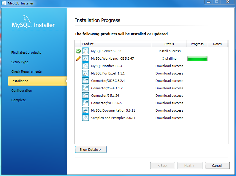 Install MySQL Step 7 - Installation Progress - Downloading Products in Progress