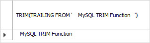 MySQL TRIM TRAILING example