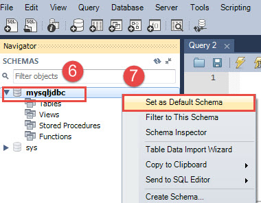5 set mysqljdbc as the default schema