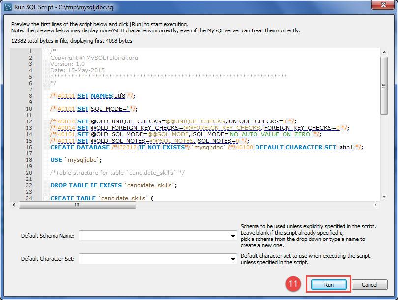 8 Run SQL Script Dialog