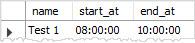 MySQL TIME example