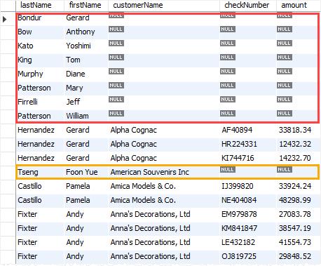 MySQL LEFT JOIN three tables example