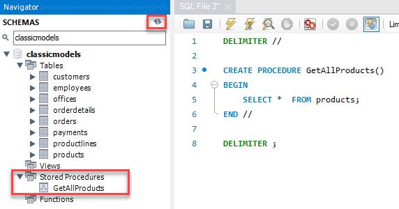 MySQL CREATE PROCEDURE example step 4